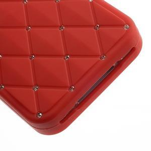 Diamonds silikonová obal na mobil iPhone 4 - červený - 5