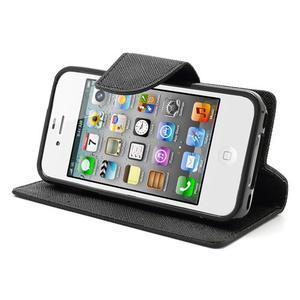 Fancys PU kožené puzdro pre iPhone 4 - čierne - 5