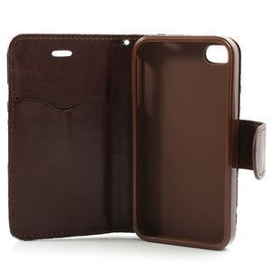 Elegantné PU kožené puzdro pre iPhone 4 - modré pozadí - 5