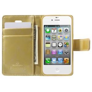 Moon PU kožené puzdro pre mobil iPhone 4 - zlaté - 5