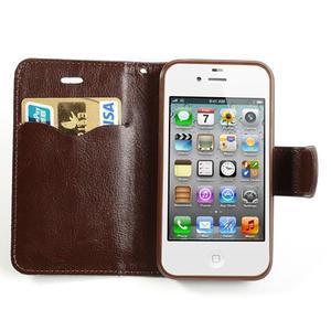 Jeans peňaženkové puzdro pre iPhone 4 - čiernomodré - 5