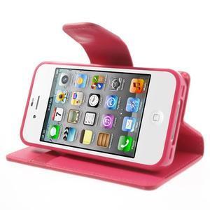 Diary PU kožené knížkové pouzdro na iPhone 4 - rose - 5