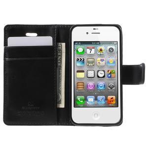 Moon PU kožené puzdro pre mobil iPhone 4 - čierne - 5