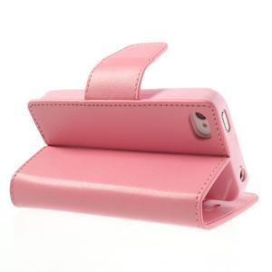 Diary PU kožené knížkové puzdro pre iPhone 4 - ružové - 5