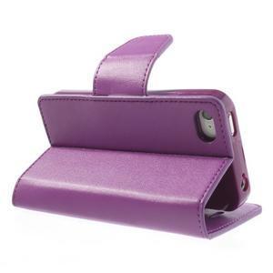Diary PU kožené knížkové puzdro pre iPhone 4 - fialové - 5