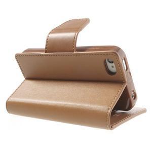 Diary PU kožené knížkové puzdro pre iPhone 4 - hnedé - 5