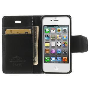 Diary PU kožené knížkové puzdro pre iPhone 4 - čierne - 5