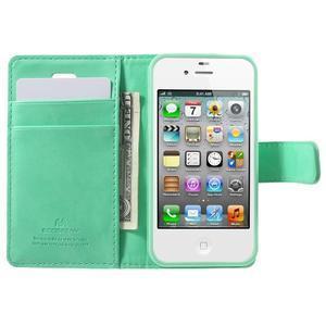 Moon PU kožené pouzdro na mobil iPhone 4 - azurové - 5