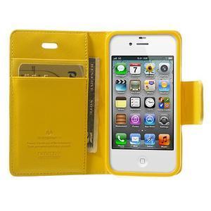 Diary PU kožené knížkové puzdro pre iPhone 4 - žlté - 5