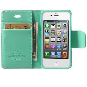 Diary PU kožené knížkové puzdro pre iPhone 4 - azurové - 5