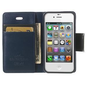 Diary PU kožené knížkové pouzdro na iPhone 4 - tmavěmodré - 5