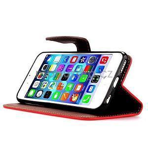 PU kožené peňaženkové puzdro pre iPhone 6s a 6 - červené - 5