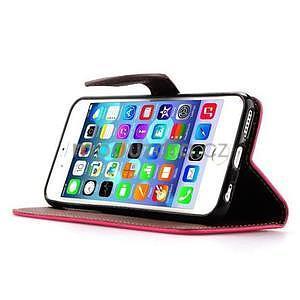 PU kožené peňaženkové puzdro pre iPhone 6s a 6 - rose - 5