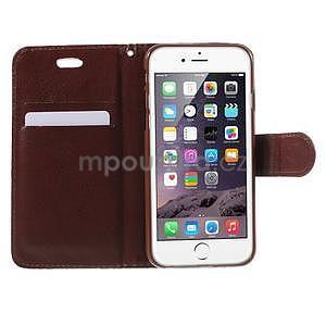 Elegantné kvetinové peňaženkové puzdro pre iPhone 6 a 6s - tyrkysové - 5