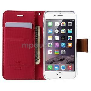 Peňaženkové koženkové puzdro pre iPhone 6s a 6 - rose - 5