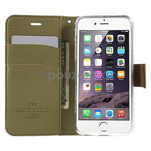 Peňaženkové koženkové puzdro na iPhone 6s a 6 - khaki - 5