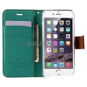 Peňaženkové koženkové puzdro na iPhone 6s a 6 - zelené - 5