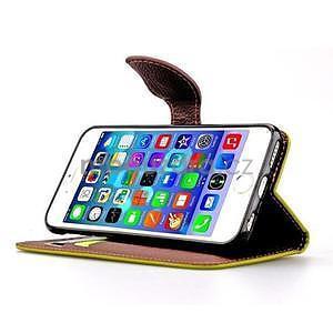 PU kožené peňaženkové puzdro pre iPhone 6s a 6 - zelene - 5