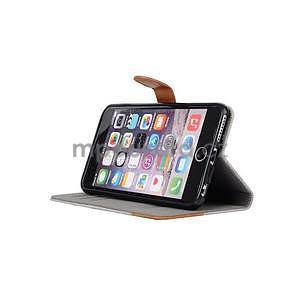 Látkové / koženkové peňaženkové puzdro pre iphone 6s a 6 - sivé - 5
