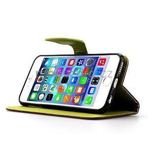 PU kožené peňaženkové puzdro pre iPhone 6s a 6 - hnedé - 5