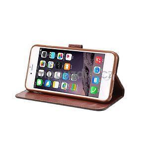 Mriežkovaného koženkové puzdro pre iPhone 6 a iPhone 6s - čierne - 5