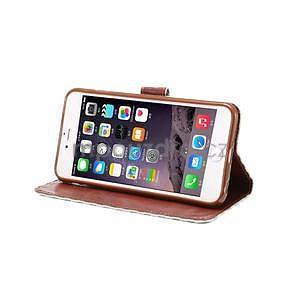 Mriežkovaného koženkové puzdro pre iPhone 6 a iPhone 6s - biele - 5