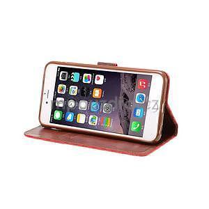 Mriežkovaného koženkové puzdro pre iPhone 6 a iPhone 6s - červené - 5