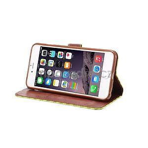 Mriežkovaného koženkové puzdro na iPhone 6 a iPhone 6s - zelené - 5