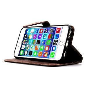 PU kožené peňaženkové puzdro pre iPhone 6s a 6 - čierne - 5