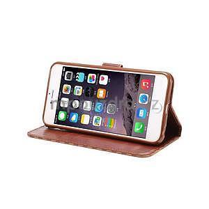 Mriežkovaného koženkové puzdro na iPhone 6 a iPhone 6s - hnedé - 5