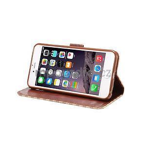 Mriežkovaného koženkové puzdro pre iPhone 6 a iPhone 6s - béžové - 5