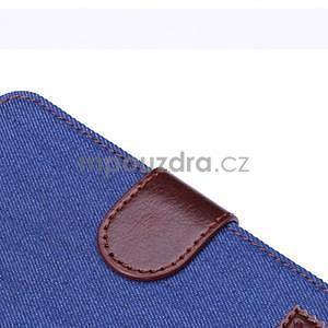Jeans látkové/pu kožené peňaženkové puzdro pre iPhone 6 a 6s - modré - 5