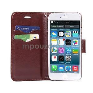 Jeans látkové/pu kožené peňaženkové puzdro na iPhone 6 a 6s - tmavomodré - 5