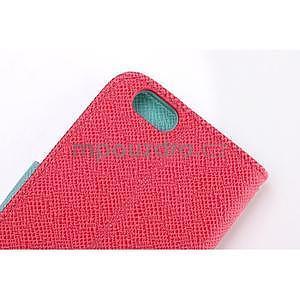 Dvojfarebné peňaženkové puzdro pre iPhone 6 a iPhone 6s - rose/cyan - 5