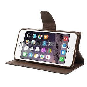 Peňaženkové puzdro pre iPhone 6 Plus a 6s Plus -  čierne/hnedé - 5
