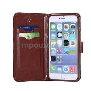 Elegantné peňaženkové púzdro pre iPhone 6 Plus a 6s Plus - hnedé - 5