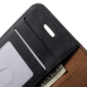 Cloth PU kožené puzdro pre iPhone SE / 5s / 5 - čierne - 5