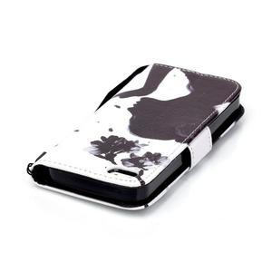 Peňaženkové puzdro pre mobil iPhone SE / 5s / 5 - dievča s kvetinou - 5