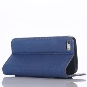 Jeans peněženkové pouzdro na mobil iPhone SE / 5s / 5 - modré - 5