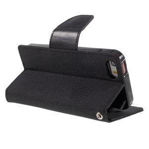 Canvas PU kožené/textilní pouzdro na mobil iPhone SE / 5s / 5 - černé - 5