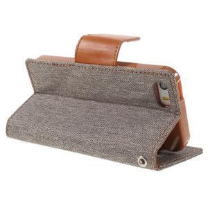 Canvas PU kožené/textilní pouzdro na mobil iPhone SE / 5s / 5 - šedé - 5