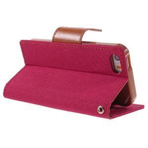 Canvas PU kožené/textilní pouzdro na mobil iPhone SE / 5s / 5 - červené - 5