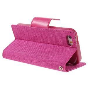 Canvas PU kožené/textilní pouzdro na mobil iPhone SE / 5s / 5 - rose - 5