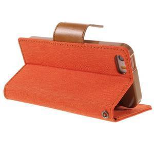 Canvas PU kožené/textilní pouzdro na mobil iPhone SE / 5s / 5 - oranžové - 5