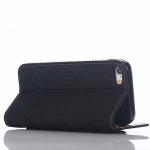 Jeans peňaženkové puzdro pre mobil iPhone SE / 5s / 5 - tmavomodré - 5