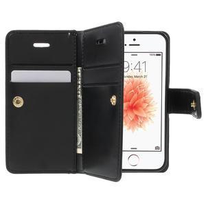 Extrarich PU kožené pouzdro na iPhone SE / 5s / 5 - černé - 5