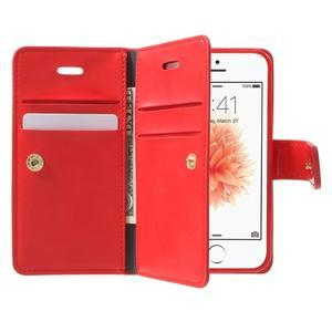 Extrarich PU kožené puzdro pre iPhone SE / 5s / 5 - červené - 5