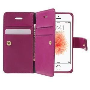 Extrarich PU kožené puzdro pre iPhone SE / 5s / 5 - magneta - 5
