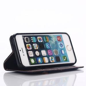 Jeans peňaženkové puzdro pre mobil iPhone SE / 5s / 5 - čiernomodré - 5