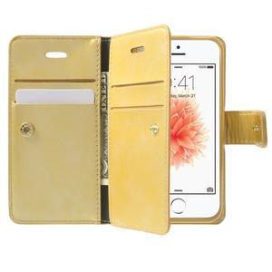Extrarich PU kožené pouzdro na iPhone SE / 5s / 5 - zlaté - 5